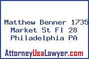 Matthew Benner 1735 Market St Fl 28 Philadelphia PA