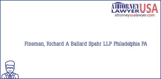 Telephone, Address and other contact data of Fineman, Richard A, Philadelphia, PA, USA